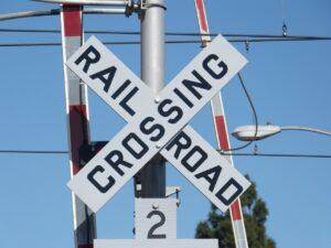 railroad crossing, railroad crossing sign, sign