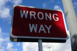 wrong way, sign, road