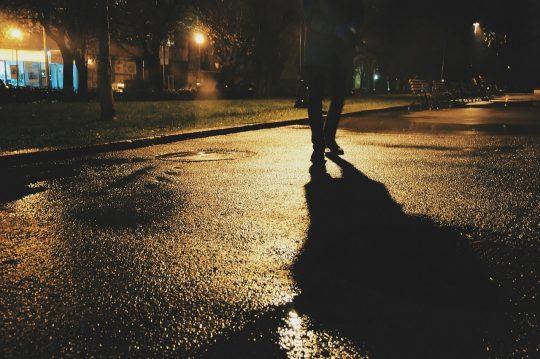 pedestrian, walking, shadow